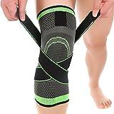 Ueasy 1 paar fitness knieschützer atmungsaktive knie unterstützung ärmel für sport, gemeinsame schmerzlinderung, arthritis und verletzungen erholt (L, Graue + Green) (L, Graue + Green)