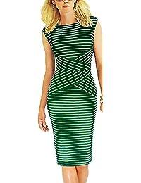 9bab5327181fa7 Bestfort Damen Ohne Arm Elegant Kleid Etuikleid O-Ausschnitt Business  Stretch Partykleid Reißverschluss Streifen Cocktail