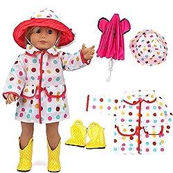 VAMEI 18-Zoll-Puppe Kleidung Regenmantel für Dolls mit Pink Umbrella, Gelben Stiefeln und Bunten Dot Hat