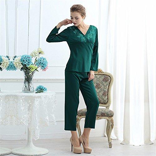 casa vestito di seta dolce signora v protagonista quanto riguarda l'abbigliamento da notte autunno - inverno lungo le maniche completo Green