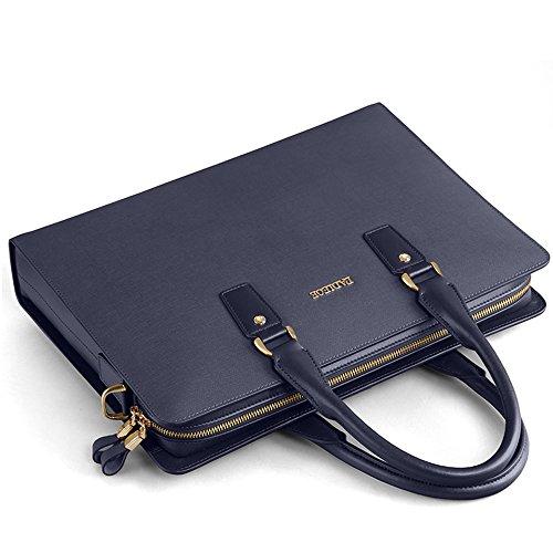 Padieoe Vintage Messenger Bag 15 Zoll Aktentasche Schultertasche Laptoptasche Notebooktasche aus Leder Blau