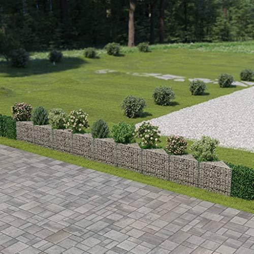 mewmewcat Mur de Gabion Jardin Panier en Pierre Acier Galvanisé Jardiniere Argenté 630 x 30 x 50 cm pour pelouse de Jardin en Plein air