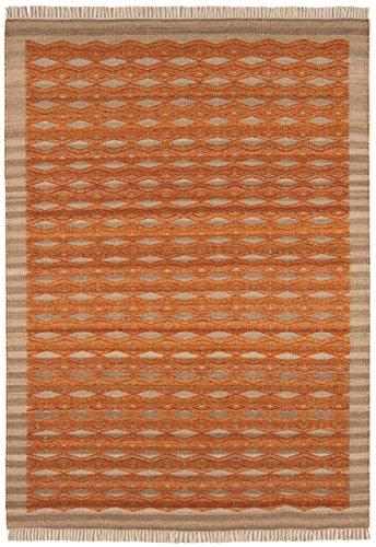 Alfombra salon sala de estar Carpet pelo corto oriental Design KELIM BORDER RUG 80% Lana 20% JUTE 120x170 cm Orange | Alfombras barata online comprar