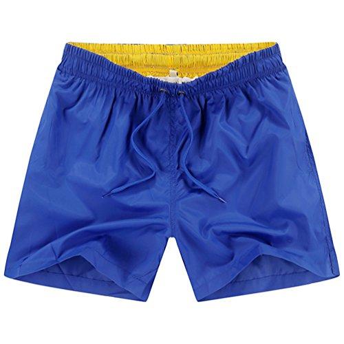 NiSeng Herren Sommer Beiläufige Hosen Schnell Trocknend Hosen kurzschlüsse Fünfte Strand Shorts Farbe Blau