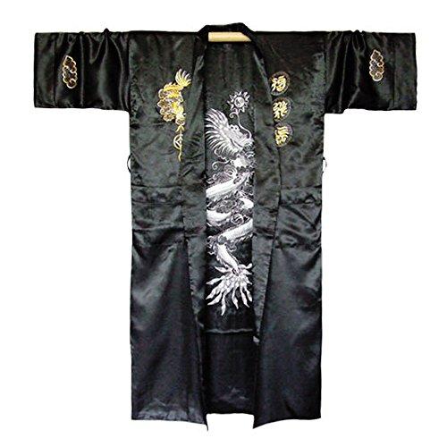 Japanischer Herren Wende-Kimono Morgenmantel Dragon Satin One Size Schwarz