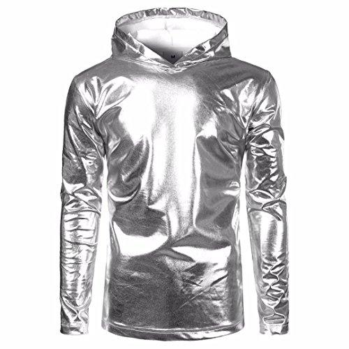 Pullover Shirt Herren Mantel, LHWY Neue Mode Kapuzenpullover Sweatershirt Frühling und Winter Herren Lackleder helles Hemd Langärmeliges Hemd Gut Aussehend Lässig Kleid Gold Silber (2XL, Sliber)