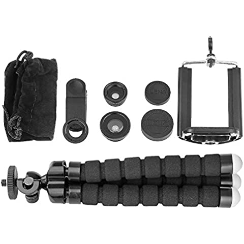 Neewer® Kit de lente de iPhone cámara kit con objetivo universalmente compatible con otros teléfonos inteligentes, Accesorio ideales para móvil fotografía profesional y viajes, El kit incluye: (1) 3-EN-1 Set universal de Lente clip (Ojo de Pez, Gran Angular y Macro Lente & Clip de lente y tapa del objetivo & Bolsa de lente de microfibra ) + (1) Suave Trípode flexible Max. Altura de extensión es 6