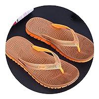 Ablaze Jin-eu mens slippers Flip Flops Bathroom Casual PVC EVA Shoes Beach Sandals Size 40~45,Brown Yellow,8