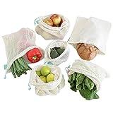 Earthtopia 6er Set Obst- und Gemüsebeutel aus Bio-Baumwolle | Fair gehandelt und Wiederverwendbar | Gemüsenetze Obstbeutel Einkaufsnetze (1x S, 2X M, 2X L, 1x Brotbeutel)