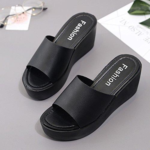 RUGAI-UE Estate con suole spesse High-Heeled pantofole donne semplici scarpe alla moda Black
