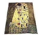 Albert'S Bacio di Klimt Plaid Arts Sherpa, Microfibra, Multicolore, Singolo, 130 x 160 cm, 4 unità