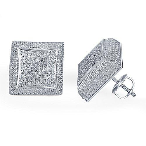 lilu Bijoux exquis femmes de coupe ronde véritable diamant serti de micro argent 925Boucles d'oreilles clous Kite White Platinum Plated