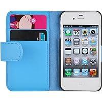 iPhone 4 Hülle, JAMMYLIZARD Ledertasche Flip Cover für iPhone 4 und 4s, BLAU
