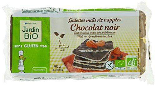 Jardin Bio Galettes Maïs Riz Nappées Chocolat Noir sans Gluten 90 g - Lot de 6