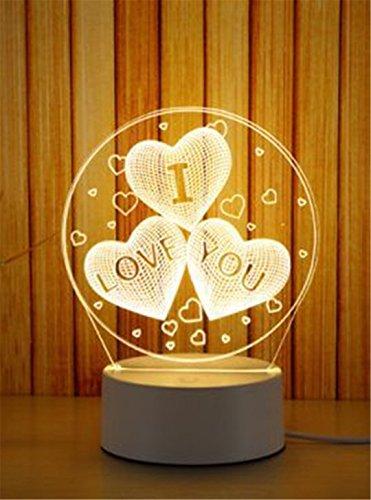 XIAOBIDENG 3D-Night Light LED Mond Turm Rotwild Quallen Tischleuchte Baby Schlafzimmer Nacht Licht kreative Kinder Geburtstag Valentinstag Geschenk i love u (Kitty Schlafzimmer Für Lampen Hello)