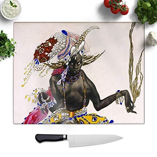 Leon Bakst Kostüm - BIG Box Art Glasschneidebrett mit Leon Bakst Kostüm, Motiv Nr. 2, Kleiner Arbeitsplattenschutz, Servierplatte, Mehrfarbig, 27,5 x 19,5 cm