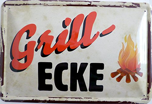 Blechschild 20x30cm - Grillecke Grillen Feuer Lagerfeuer