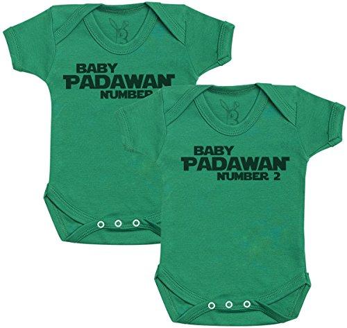 Baby Padawan Number 1 & 2 Regalo para Gemelos bebé, Body para Gemelos bebé niño, Body para Gemelos bebé niña - 0-3 Meses Verde