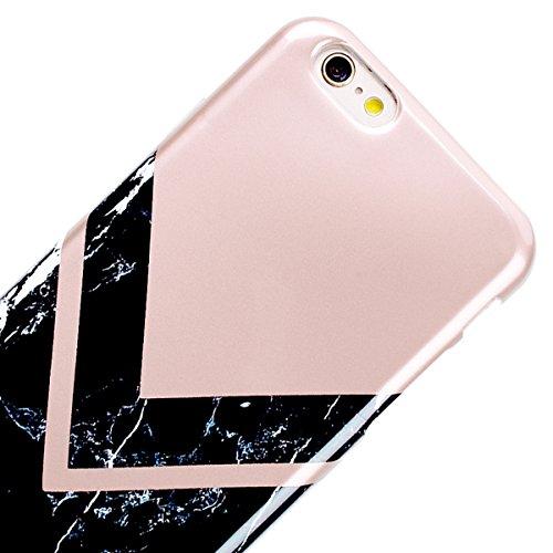 GrandEver iPhone 6/iPhone 6S Hülle Weiche Silikon Handyhülle Marmor Muster TPU Bumper Schutzhülle für iPhone 6/iPhone 6S Rückschale Klar Handytasche Anti-Kratzer Stoßdämpfung Ultra Slim Rückseite Sili Rose Gold und Schwarz 2