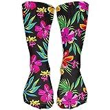 Cómodo Adulto Rodilla Calcetín alto Loco Impreso Hawaiano Colorido Flor Vestido Crew Adolescente Chica Gimnasio Calcetines al aire libre Stocking