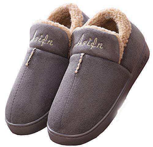 Mujer Invierno Zapatillas de Estar casa Cerradas Calienta Pantuflas Termicas Zapatos Slippers (40/40.5 EU, Gris)