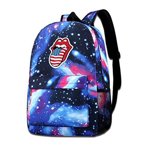 Black Galaxy Stone (Stone Tongue Flag Galaxy Backpacks Fashion Bags Casual Daypacks for School Travel Business Shopping Work)