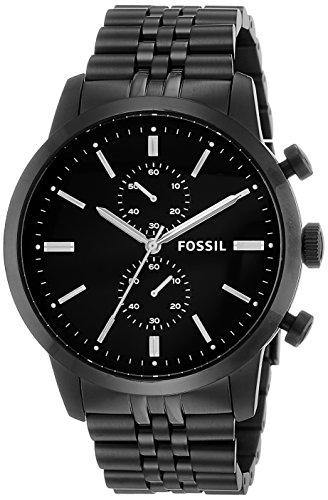 Fossil FS4787 – Reloj cronógrafo de cuarzo para hombre con correa de acero inoxidable bañado, color negro
