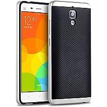 Xiaomi 4 Funda, HICASER Carbon Fiber Choque Absorción Protección Silicona Carcasa para Xiaomi Rice 4 Mi4 Flexible PC Bumper Frame + TPU Case Plata