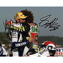 Edición limitada VALENTINO ROSSI marco Simoncelli moto GP firmada fotografía + Cert impreso