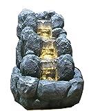 Zimmerbrunnen Innenbrunnen Feng Shui Rock LED Farb Beleuchtung Gelb 34 cm