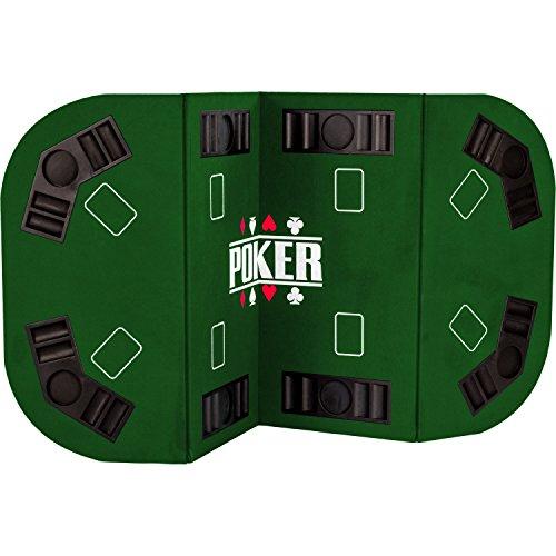 Maxstore Faltbare XXL Pokerauflage für bis zu 8 Spieler, Maße 160x80 cm, MDF Platte, 8 Getränkehalter, 8 Chiptrays, grün - 2