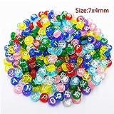 Xinqu 100 Teile/los Zufällige Russische Buchstaben Acryl Perlen for Halskette Armband Flach/Quadrat DIY Lose Perlen Großhandel (Color : 1)