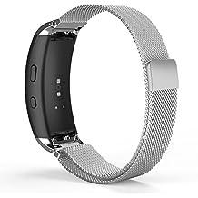 MoKo Samsung Gear Fit2 Correa de Reloj, Pulsera Milanesa Loop Correa Acero Inoxidable Bracelete SmartWatch Banda + Conector para Samsung Gear Fit 2 SM-R360 Smartwatch, Plata