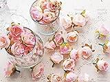 Dekorative künstliche Blumen aus Kunstseide, Mini-Rosen, Hellrosa, Textil, rose, 25-30mm