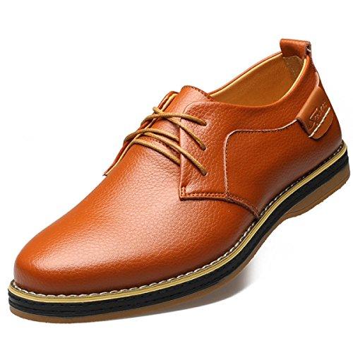 GRRONG Chaussures En Cuir Pour Hommes En Cuir Véritable Respirante Affaires Loisirs Noir Marron brown