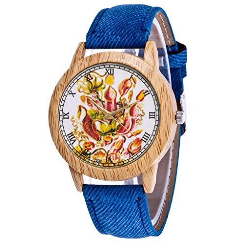 Herren Damen Analog Uhr Dünn Elegant Luxusuhr Geschäft Braun Armband Damen Armbanduhr Blau
