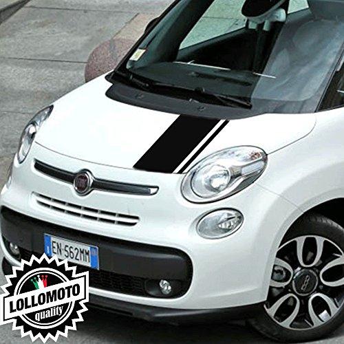 Striscia Adesiva Cofano Fiat 500 L Bonnet Stripes Decal Stickers - Nero Opaco