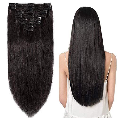 Clip in Extensions Echthaar günstig Haarverlängerung Remy Echthaar 8 Tressen 18 Clips Glatt 55cm-110g(#1B Naturschwarz)