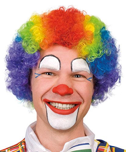 Karneval Klamotten Kostüm Perücke Clown Locken Regenbogen Zubehör Zirkus Karneval