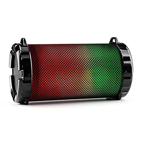 auna Dr. Beat - Enceinte Bluetooth portable haut-parleur sans fil sur batterie (éclairage multicolore LED, ports USB et microSD pour lecture MP3, entrée AUX, tuner radio) -