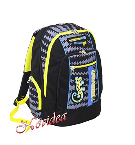 ZAINO SCUOLA SEVEN NEW ADVANCED GECKO BOY NERO ERGONOMICO E FOSFORESCENTE