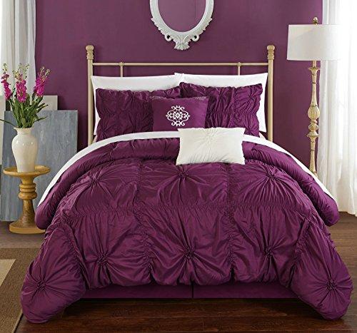 Chic Home cs1439-an 'El HALPERT Floral Pinch Falte Rüschen Design-verziert King Tröster Set, 6-teilig, violett (Verziert Tröster)