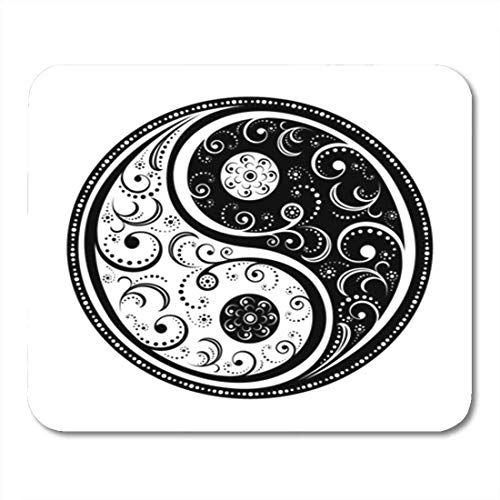 HOTNING Gaming Mauspads, Gaming Mouse Pad Japanese Yin Yang Symbol All Parts Closed Possibility to Edit Tattoo Chinese Flower 11.8