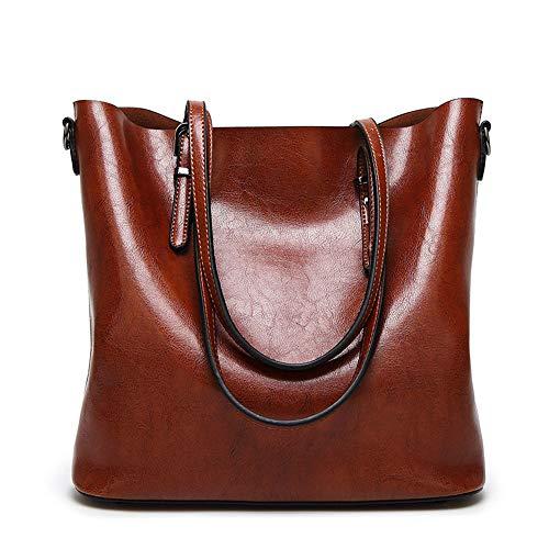 KINGEE-B Damenhandtaschen, Europäische Und Amerikanische Modetaschen Ölwachs Beuteltasche Schulter Geschlungene Handtasche,Brown