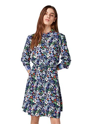 TOM TAILOR Denim Damen Kleid 1009894 Mehrfarbig (Flower Design 15874) Small (Herstellergröße: S)