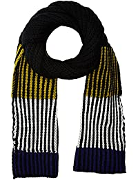New Look Men's Highlight Colour Scarf, Black (Black Pattern), One Size (Manufacturer Size: 99)