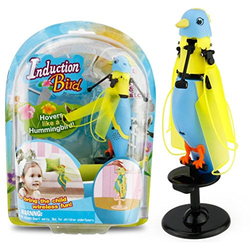 WYXlink LED Barking Induction Birdie Helicopter Induction Bird Sound Flying Toy Gift BU