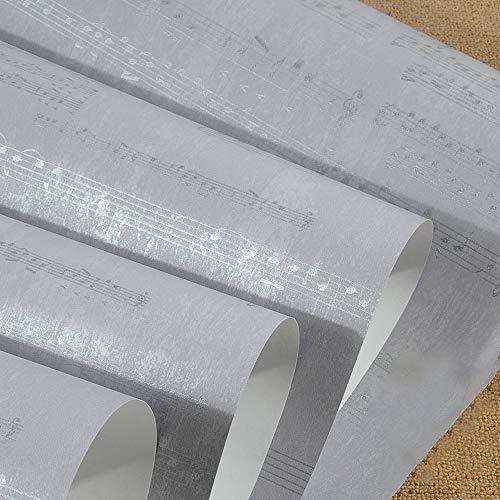 Wallpaper Moderne amerikanische Persönlichkeit Musical Notes Wohnzimmer Schlafzimmer Klavierraum Musik Klassenzimmer Training Hintergrundbild (Color : Gray) -