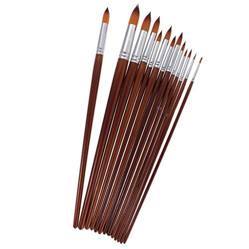 Gazechimp 13er Künstler Pinsel Set Malen Detail Nylon Pinsel Pinselmalerei Borstenpinsel Haarpinsel für Acryl & mehr - Rund Spitze