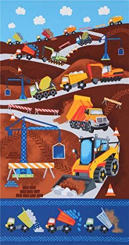 Timeless Treasures Tissu en Coton avec des véhicules de Chantier de Construction